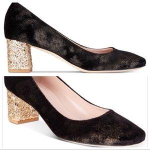 Kate Spade-Serene Black Velvety glitter block heel
